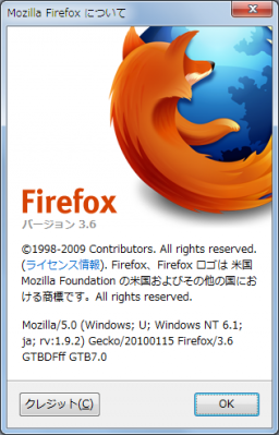 Mozilla/5.0 (Windows; U; Windows NT 6.1; ja; rv:1.9.2) Gecko/20100115 Firefox/3.6 GTBDFff GTB7.0