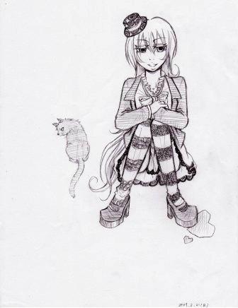 ゴシック女&黒猫