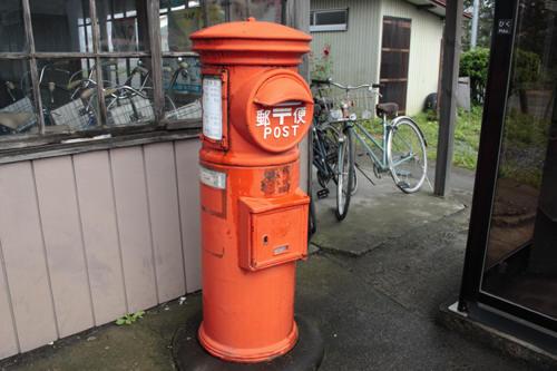 元登米駅前の丸ポスト