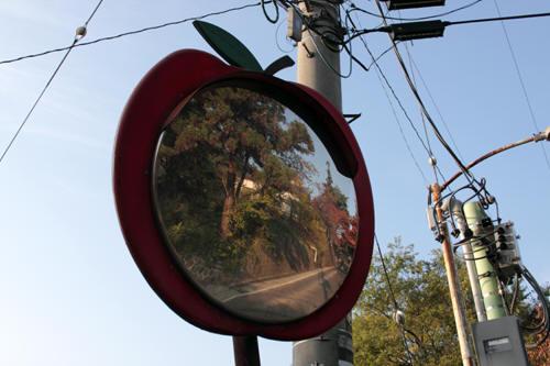 リンゴの形のカーブミラー