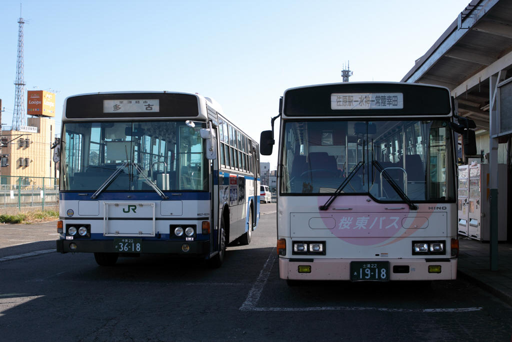 佐原駅前のJRバスと桜東バス