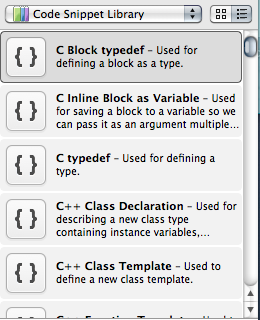 Xcode4 CodeSnippetLibrary
