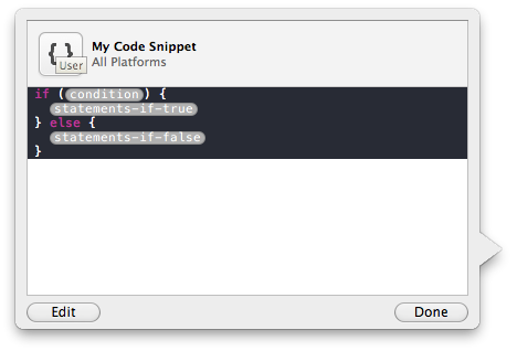 Xcode4 CodeSnippetLibrary - Popover