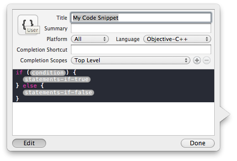 Xcode4 CodeSnippetLibrary - PopoverEdit