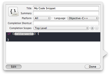 Xcode4 CodeSnippetLibrary - CustomStub