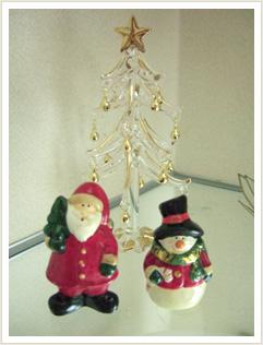 サンタ&スノーマン&ガラスのツリー