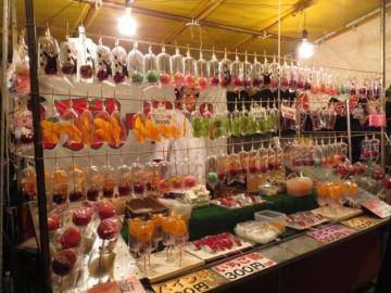 起業祭。フルーツ飴の屋台