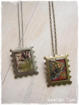 切手型樹脂ネックレス
