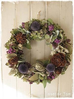 ドライ紫陽花リース