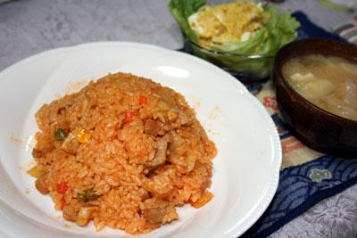 091118チキンライス、カボチャサラダ、タマネギと豆腐の味噌汁