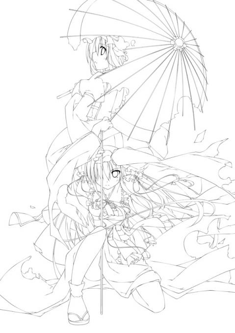 五色桜花線画
