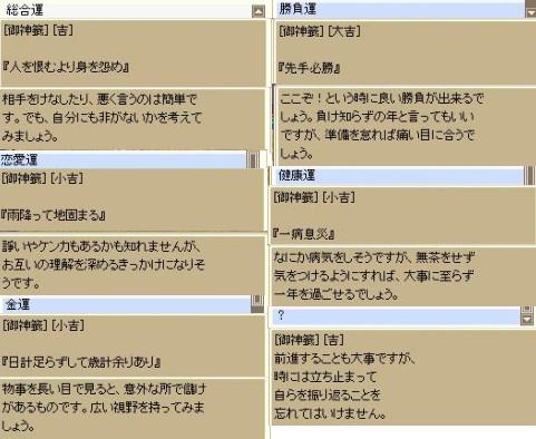 2010年のROおみくじ