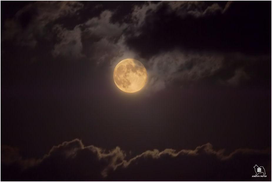 月に雲(合成)