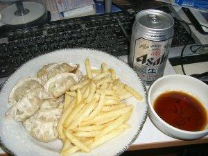 ドライと餃子&ポテト