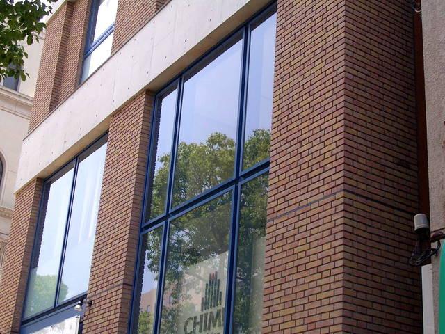 窓ガラスの新緑