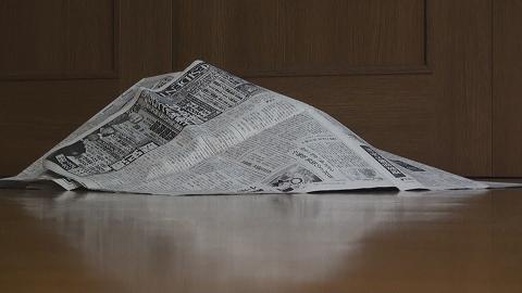 新聞紙を被ったノンタ