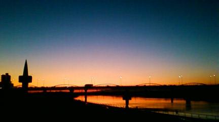 091201河川敷の夕陽