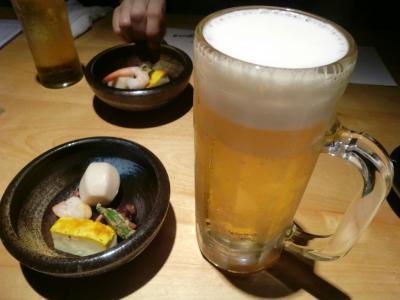 ビールとお通し@炙屋すすきの別庭さん