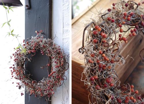 ナチュラルクリスマス雑貨*バラの実のリース
