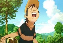それを笑っている少年。岡本
