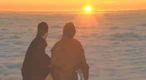 山から見る夕日