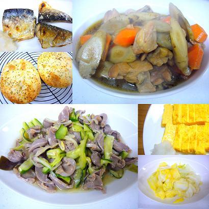 鶏肉と根菜の煮物と鯖の塩焼き