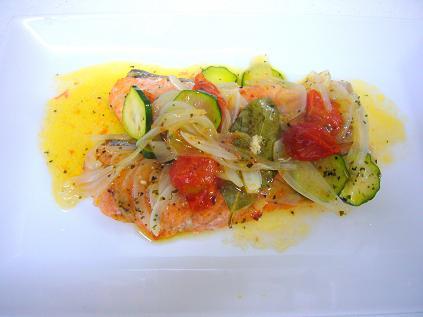 サーモンと野菜のイタリアンハーブ蒸し