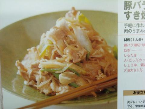 豚バラ肉とねぎのすき焼き風写真