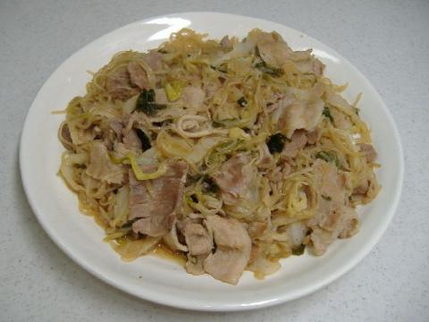 豚バラ肉とねぎのすき焼き風