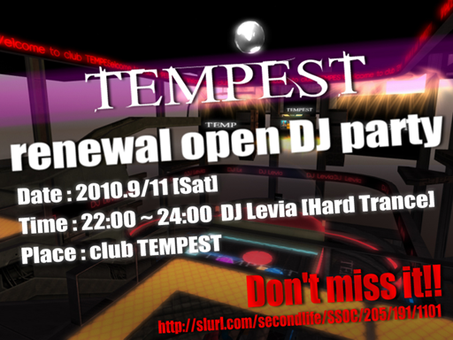 club TEMPEST renewal open DJ party