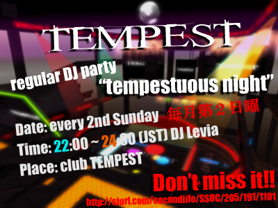 club TEMPEST tempestuous night
