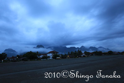 ラオス、バンビエンの山々