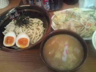 豚骨魚介味玉つけめん+肉野菜炒めセット