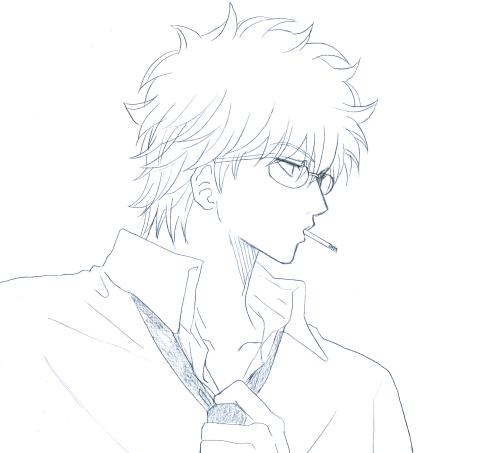 なんとなく出勤前っぽい感じで描いたんですが、夜、家に帰って着替えるときの銀八先生でもいいかもしれません。……うん、まあ、なんだっていーや!☆(≧▽≦)☆!(ぇー