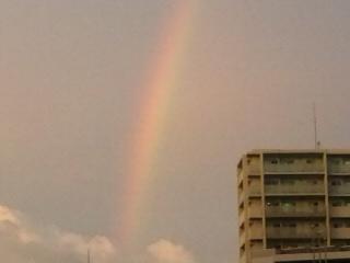夕日に照らされる虹