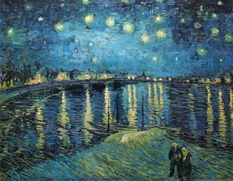 ローヌ川の星月夜、星月夜、星降る夜