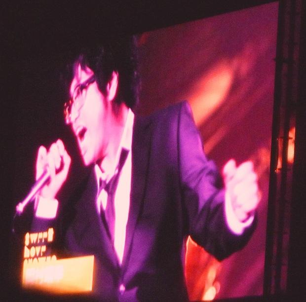 『SLS2011』@山中湖(演奏終了後、スクリーンに映された岡村さんの静止画)