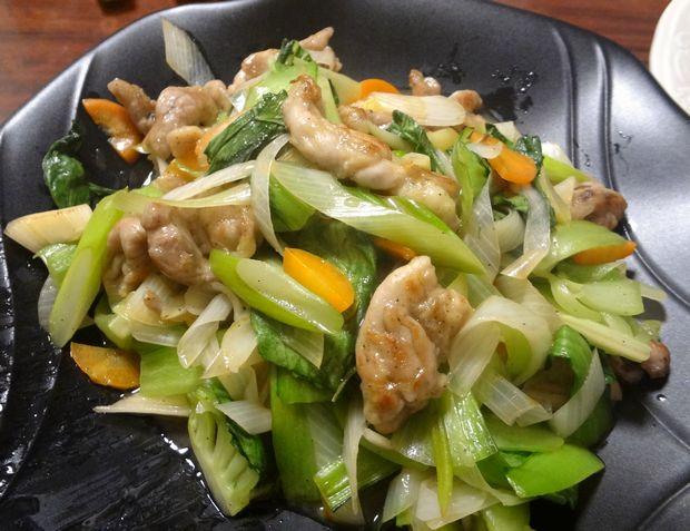 鶏せせりと青梗菜の炒め物(2012年2月)