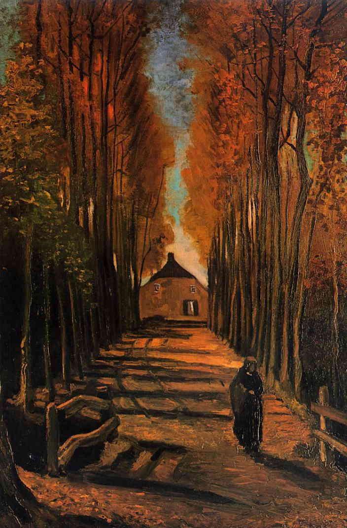 夕暮れのポプラ並木