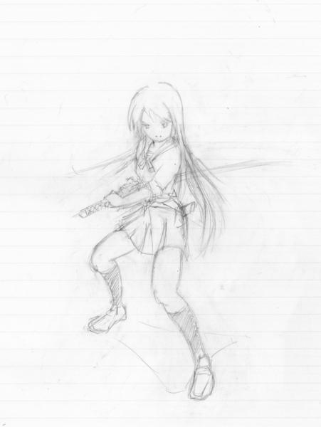 日本刀を構えた少女