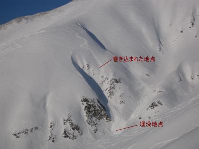 立山真砂岳の雪崩の跡
