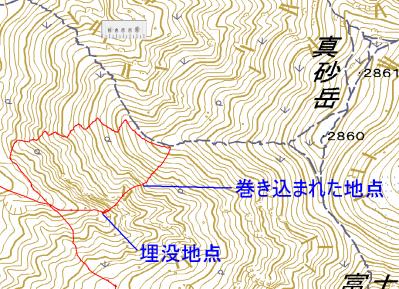 立山真砂岳の雪崩に巻き込まれた際のGPSログ