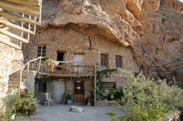 洞窟宿舎と犬