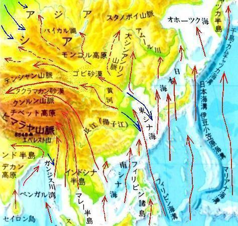 アジア大陸へ上陸した津波