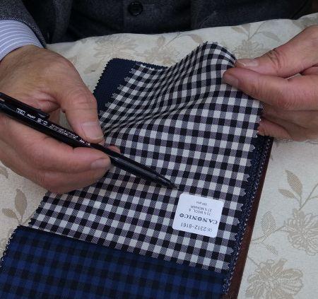 カノニコのギンガムチェックのスーツ・ジャケット生地