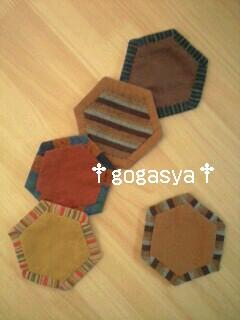 101026紬の六角コースター