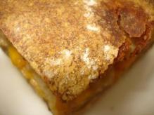 もち米黒糖胡桃味噌チェダーチーズレンコンのミルフィーユ断面