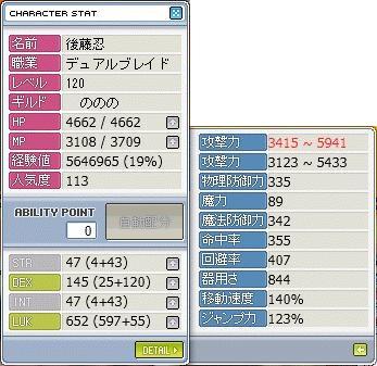 DBレベル120ステータス