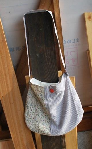 紫ストライプ小花バッグ