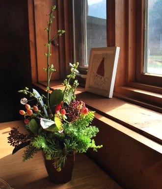 ろテーブル花